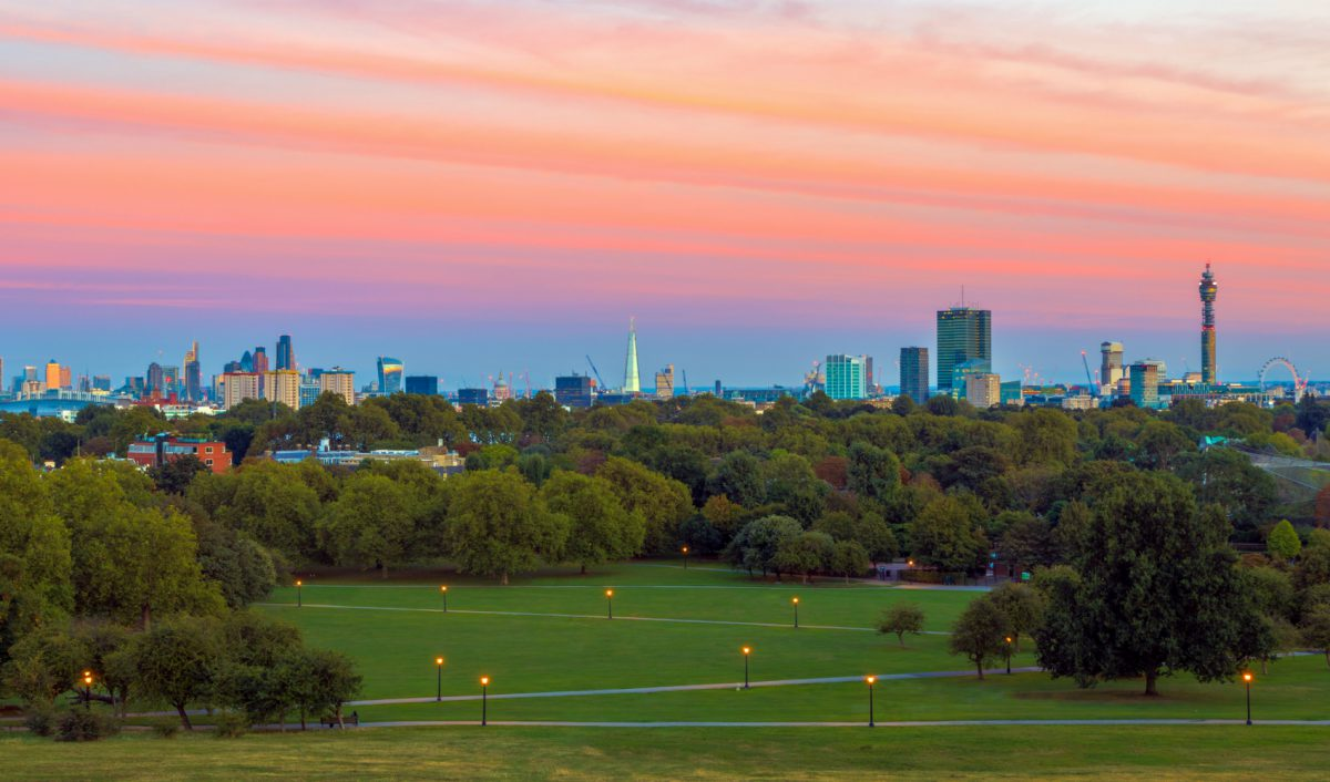 Views from Primrose Hill at sunset, located only 13 minutes away from LHA Belsize House in North West London