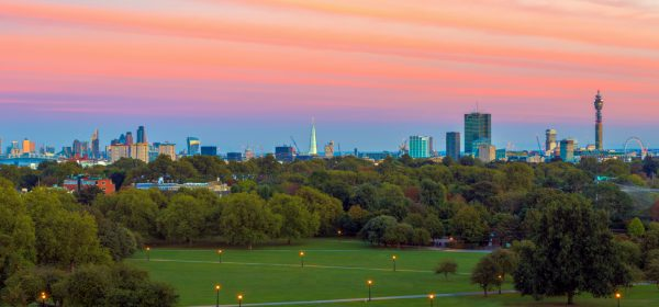 Views from Primrose Hill Park at sunset, located only 13 minutes away from LHA Belsize House in North West London